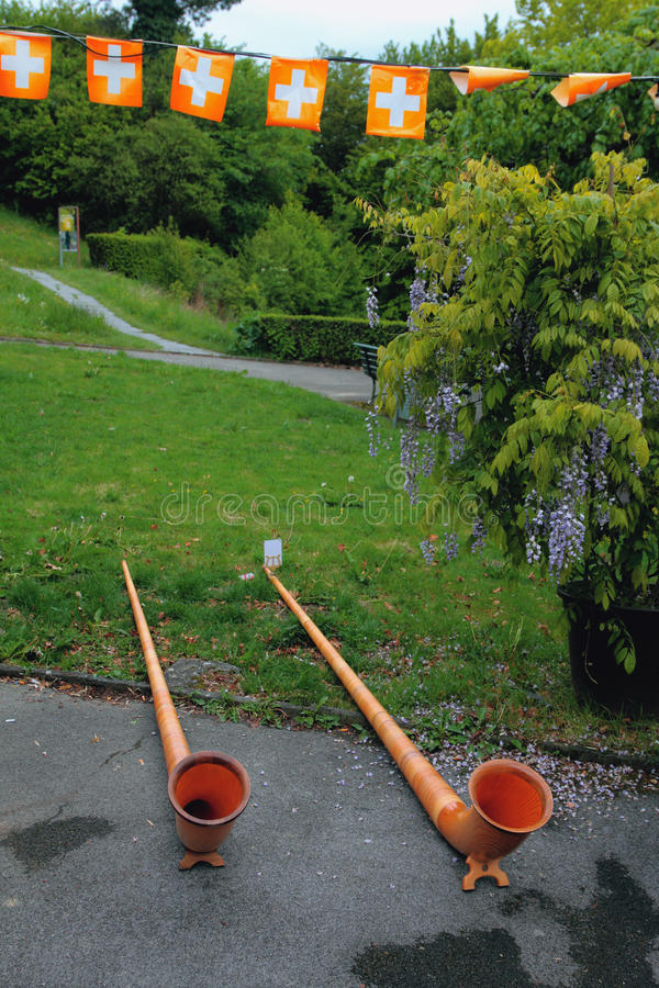 Alpine horn on avenue in park. Lausanne, Switzerland. ` 08-05-2017 royalty free stock image