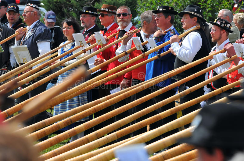 Download Alpine Horn Festival editorial photography. Image of alps - 20456737
