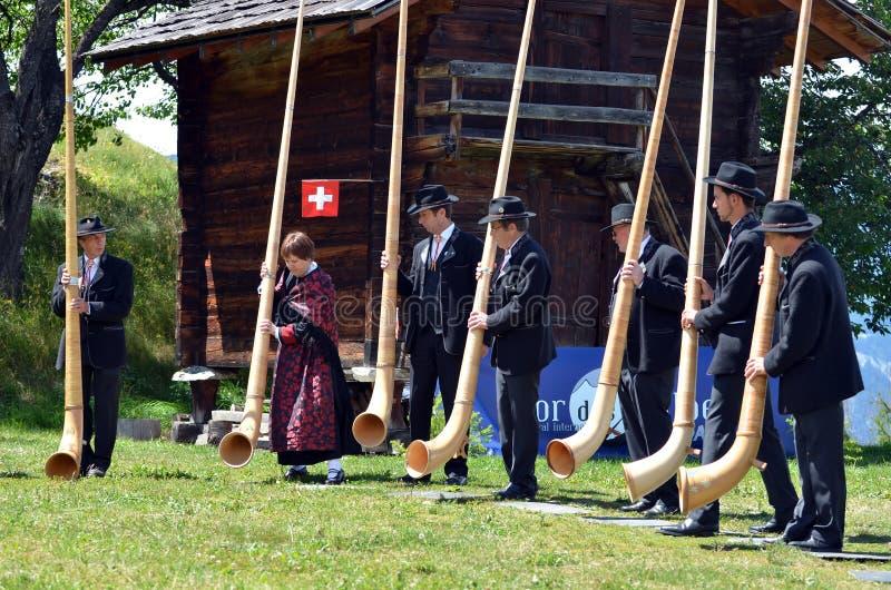 Download Alpine Horn Festival editorial image. Image of nendaz - 26884100