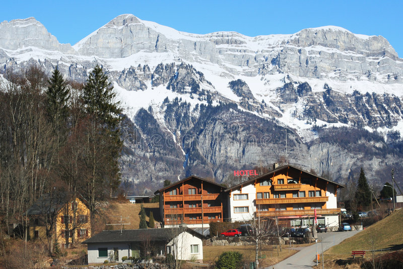 Alpine hotel royalty free stock images