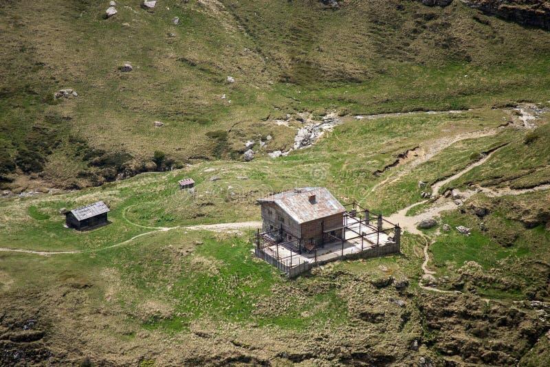 Alpine hut - aerial view. Alpine hut in Bucegi Mountains, Southern Carpathians, Romania stock images