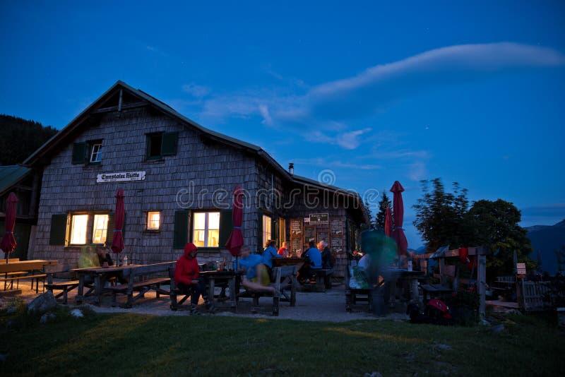 Alpine hut in Austria at night stock photos