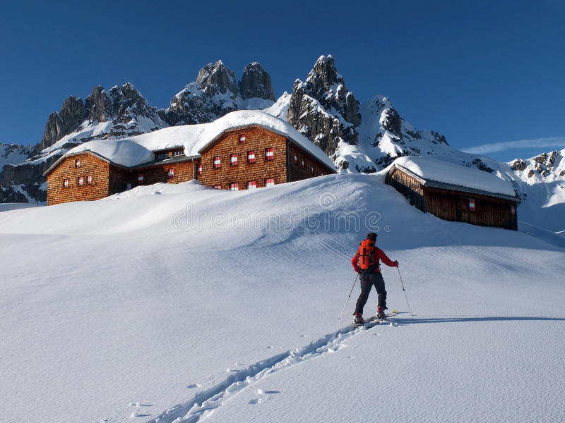 Alpine Hut In The Winter Royalty Free Stock Photography