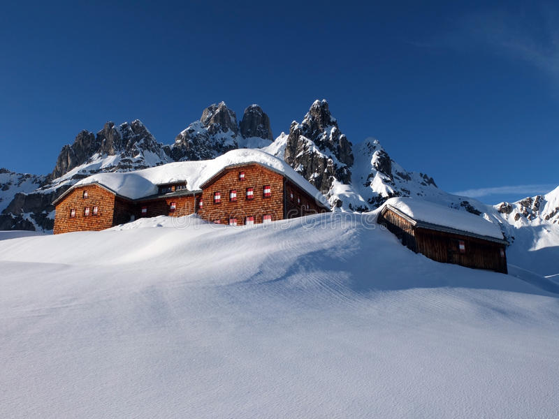Download Alpine hut in the winter stock image. Image of snow, europe - 29711517