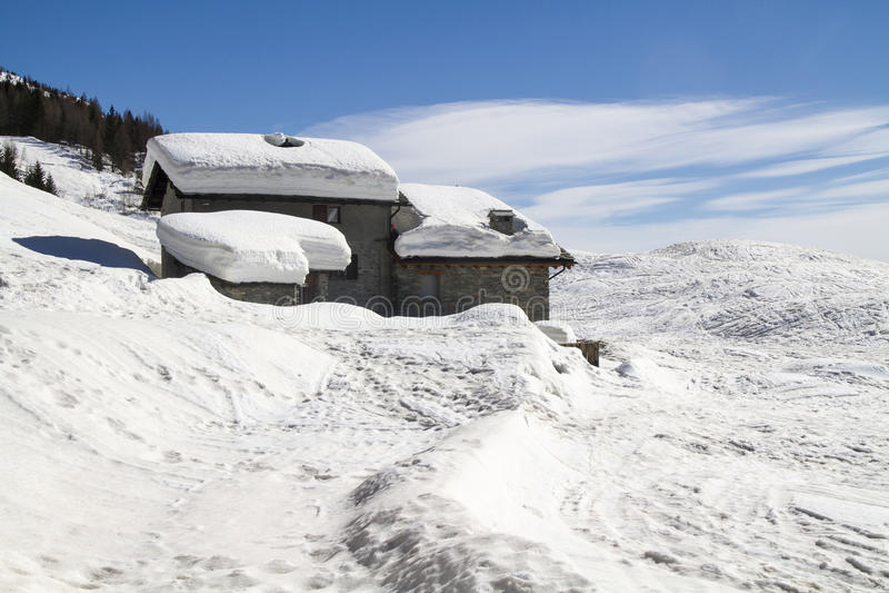 Alpine hut royalty free stock images