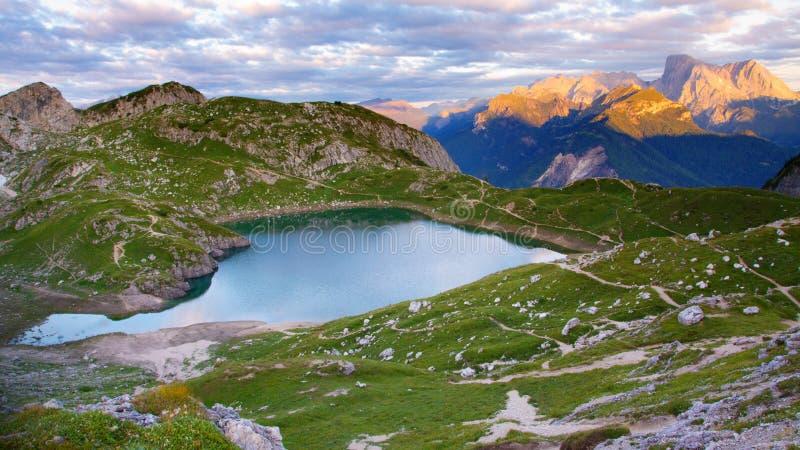 Download Alpine Lake stock photo. Image of cortina, italy, green - 16406146