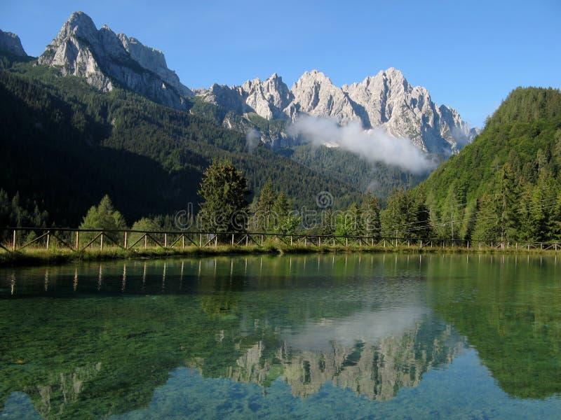 Alpine Lake. On Italian Alps stock photos