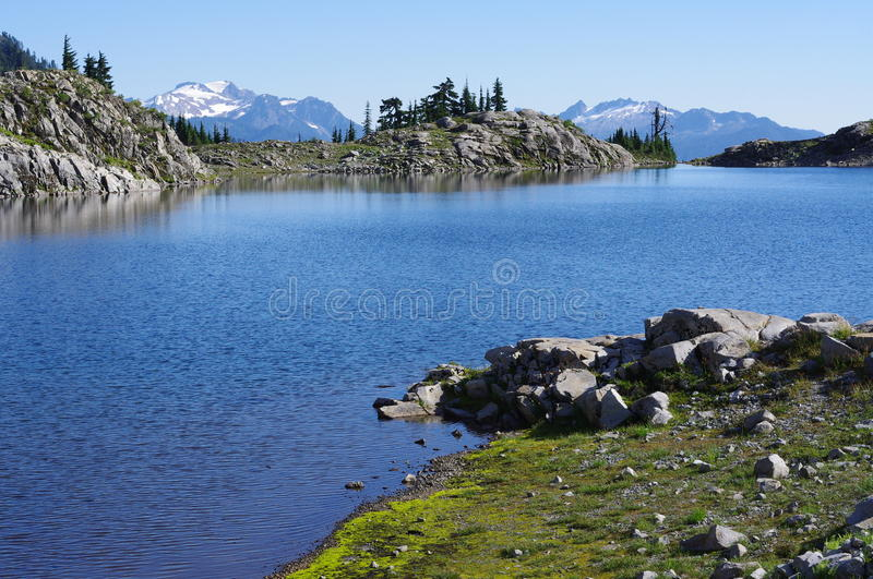 Alpine lake Ann. Lake Ann at the foot of Mt. Shuksan in Washington State Mt. Baker-Snoqualmie National Forest. USA royalty free stock image