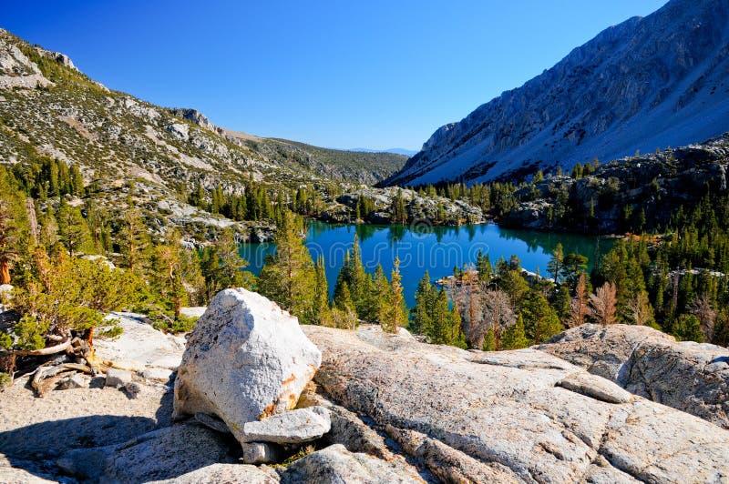 Alpine lake in East Sierra California stock photography
