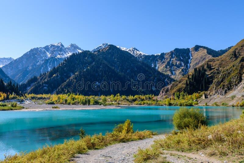Alpine lake Issyk. Issyk gorge, Zailiyskiy Alatau, Almaty, Kazakhstan stock photo