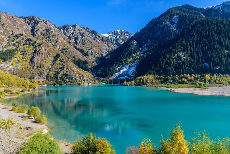 Alpine lake Issyk. Issyk gorge, Zailiyskiy Alatau, Almaty, Kazakhstan stock photography