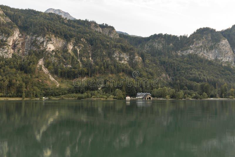 Alpine lake Mondsee autumn landscape, Austria stock image