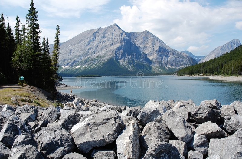 Alpine lake and mountain royalty free stock photography