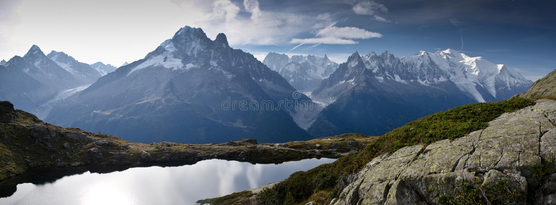 Alpine lake and mountains royalty free stock photo