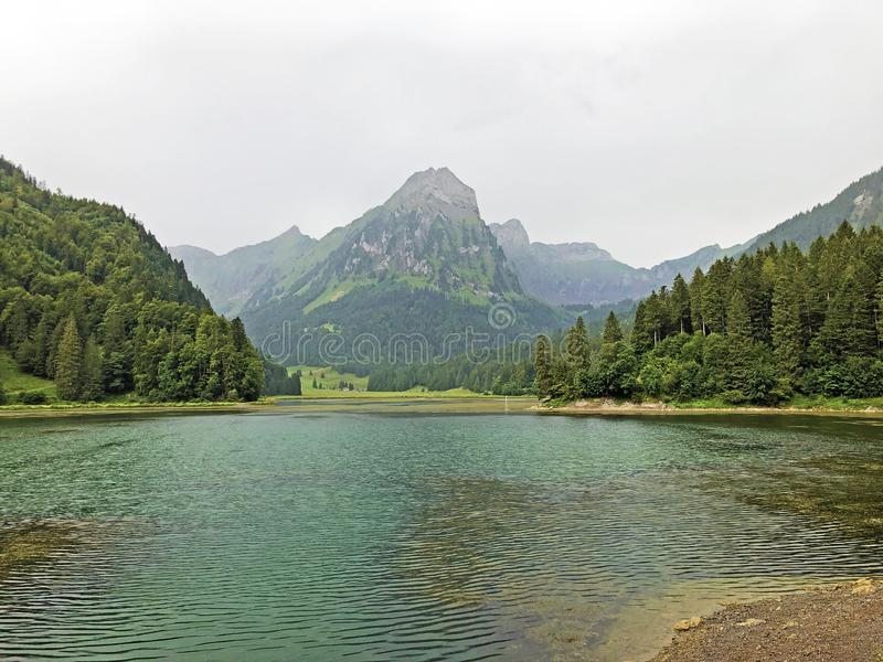 Alpine lake Obersee in the Glarus Alps mountain massif and in the Glarnerland tourist region, Nafels Naefels. Canton of Glarus, Switzerland royalty free stock image