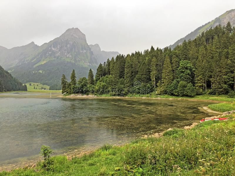 Alpine lake Obersee in the Glarus Alps mountain massif and in the Glarnerland tourist region, Nafels Naefels. Canton of Glarus, Switzerland stock photography