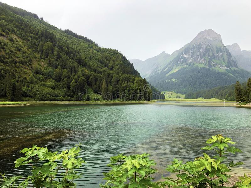 Alpine lake Obersee in the Glarus Alps mountain massif and in the Glarnerland tourist region, Nafels Naefels. Canton of Glarus, Switzerland stock image
