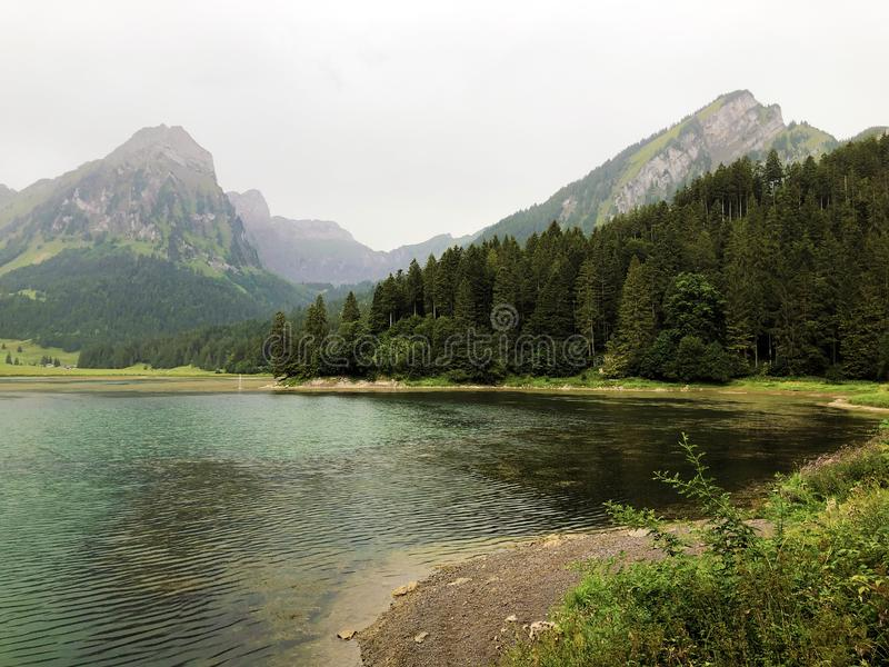 Alpine lake Obersee in the Glarus Alps mountain massif and in the Glarnerland tourist region, Nafels Naefels. Canton of Glarus, Switzerland stock images