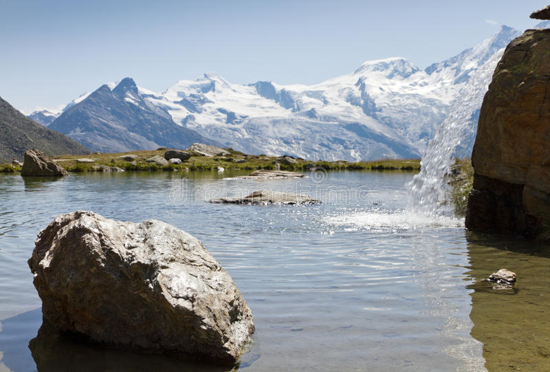 Alpine lake with waterfall