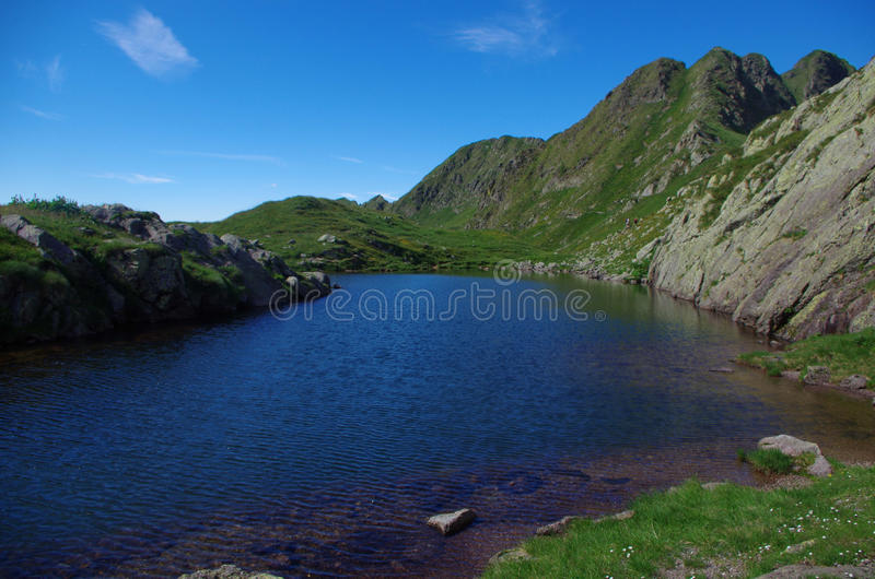 Alpine Lake. Wonderful view of an alpine lanscape with a blue lake stock photography
