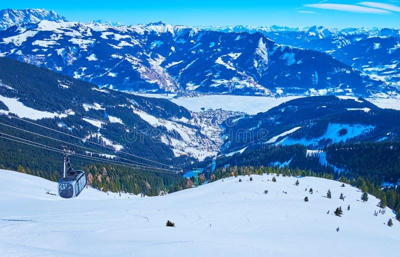 Alpine landscape with air lift, Schmitten mount, Zell am See, Austria stock photo