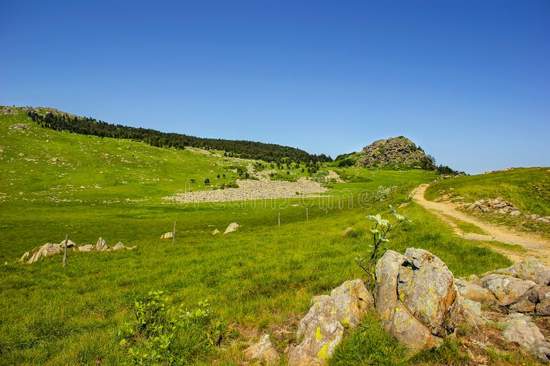 Alpine landscape with a blockfield dated from the last Ice Age in Beigua National Geopark stock photography