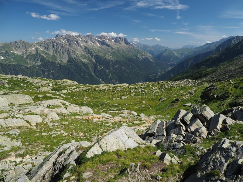 Alpine landscape of Chamonix valley, France stock photo