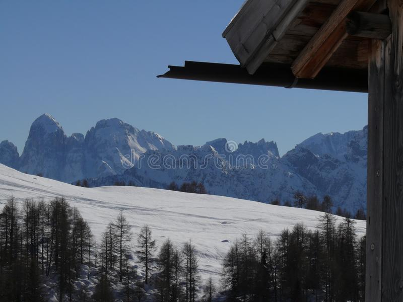 Alpine landscape of the Dolomites with snow.  Trentino stock image