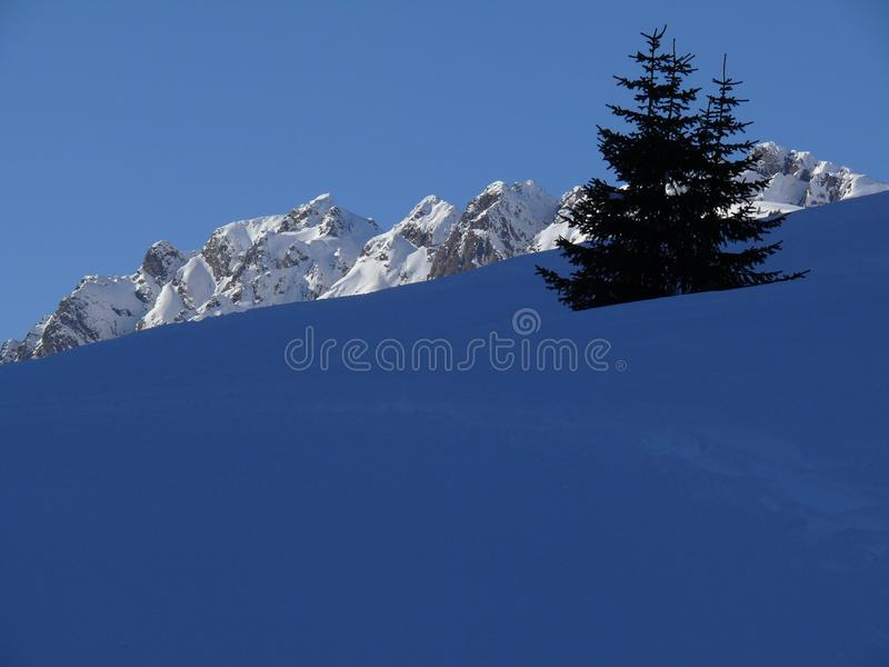Alpine landscape of the Dolomites with snow. Trentino stock images