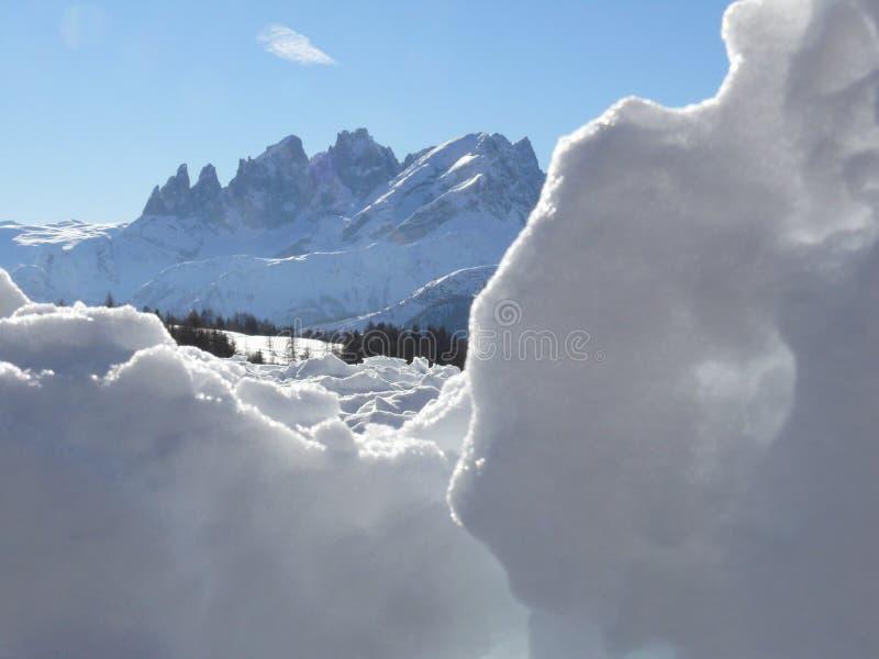 Alpine landscape of the Dolomites with snow. Trentino stock photos