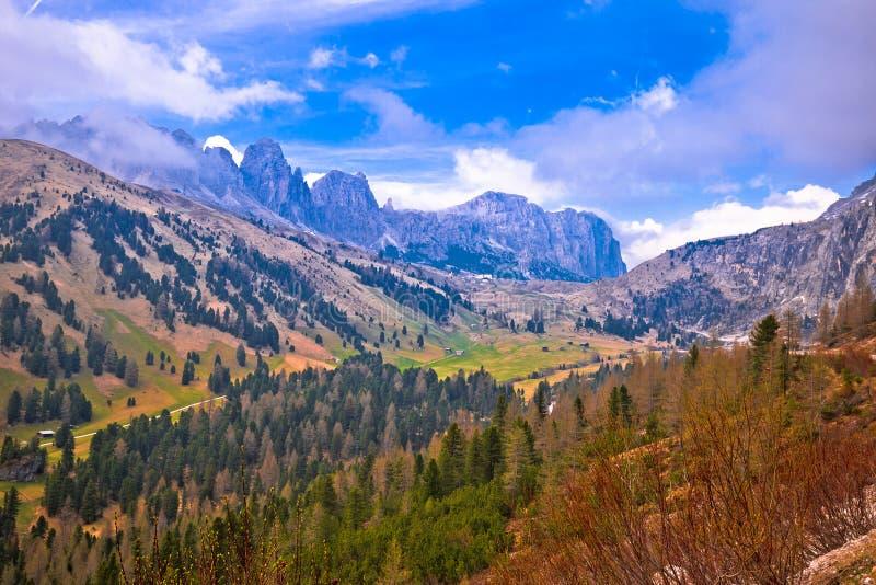 Alpine landscape of Gardena Pass in Dolomites Alps stock images