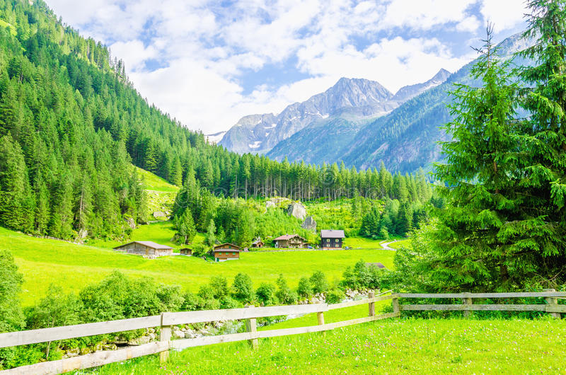 Alpine landscape and green meadows Alps, Austria. Beautiful alpine landscape with green meadows, alpine cottages and mountain peaks, Zillertal Alps, Austria stock photo