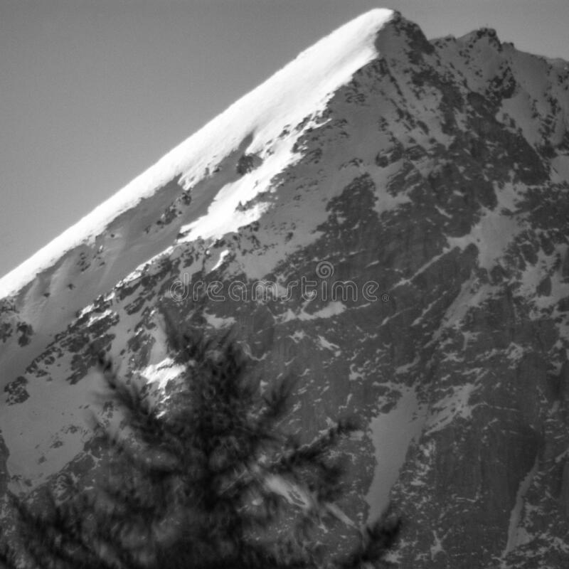 Alpine landscape photography of a mountain on black and white royalty free stock photos