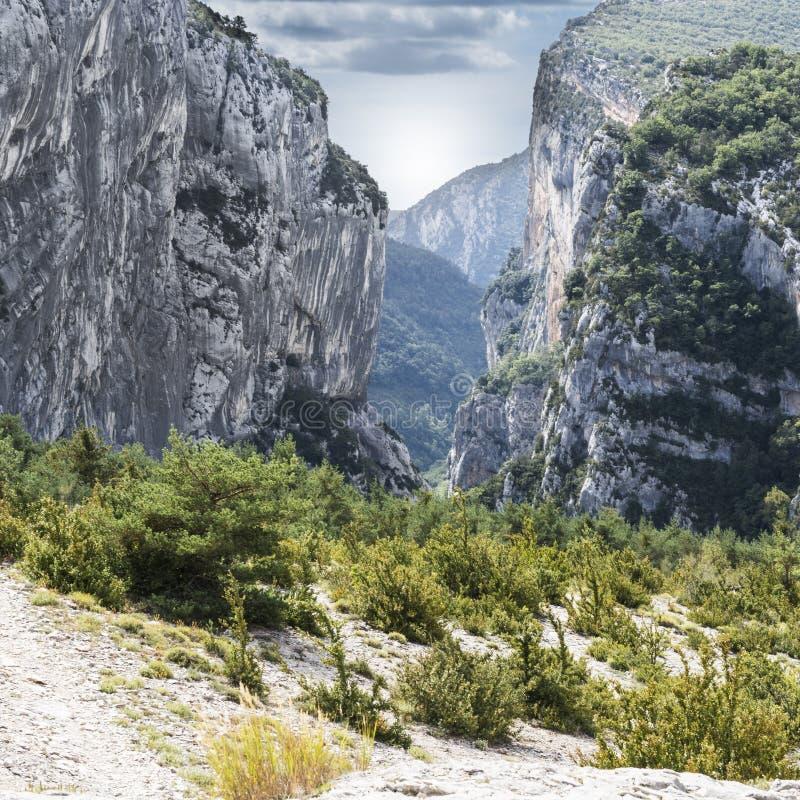Alpine landscape in southeastern France. Alpine landscape of Alpes-de-Haute-Provence department in southeastern France stock image