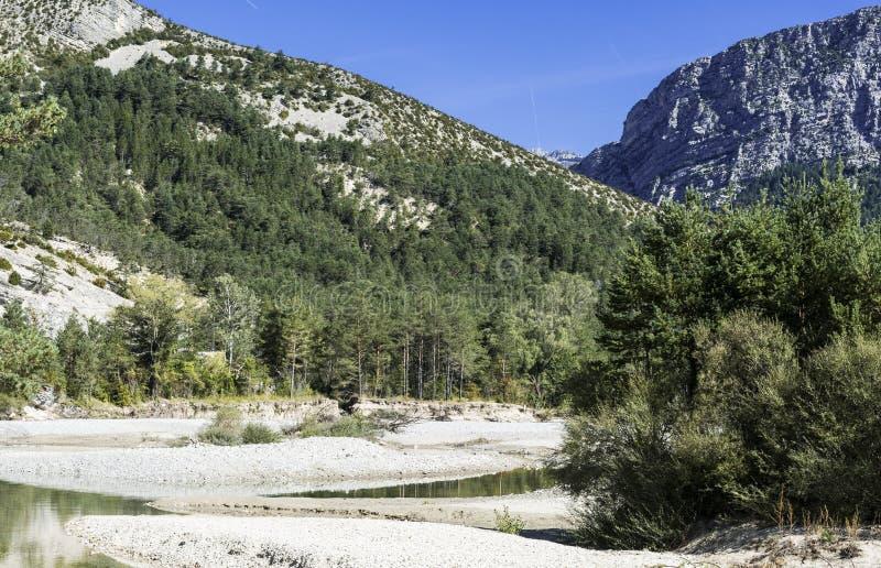 Alpine landscape in southeastern France. Alpine landscape of Alpes-de-Haute-Provence department in southeastern France stock photo