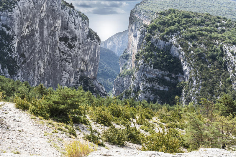 Alpine landscape in southeastern France. Alpine landscape of Alpes-de-Haute-Provence department in southeastern France stock photos