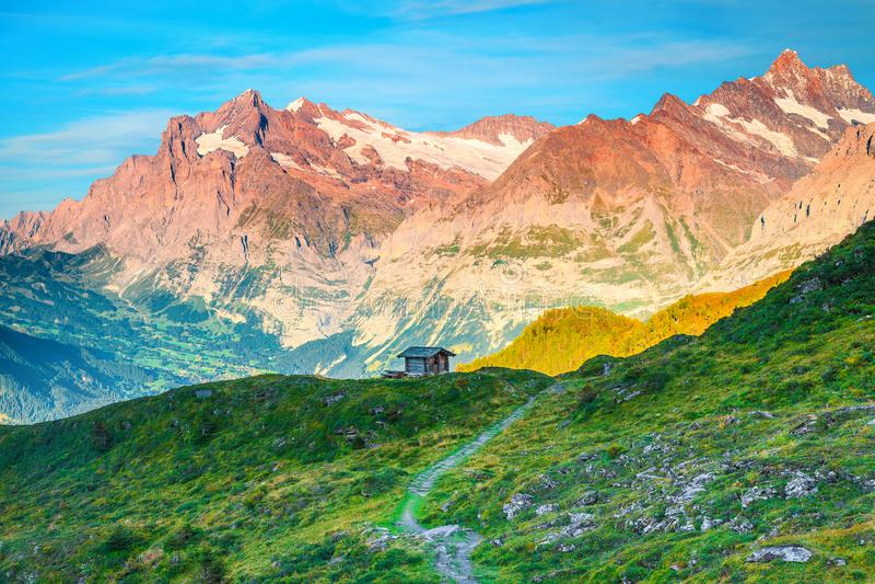 Alpine Landschaft des herrlichen Sommers mit alter hölzerner Hütte, Grindelwald, die Schweiz lizenzfreie stockfotografie