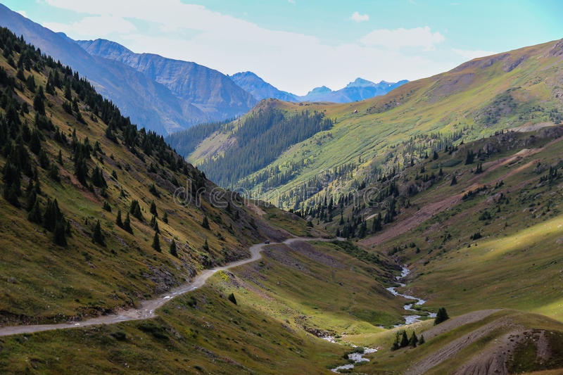 Alpine Loop of Colorado. High in the Rockies the little community of Animas Forks was established as a gold mining town, now just a ghost town. Take the Alpine stock photos