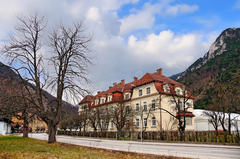 Alpine market town Reichenau on the Rax, situated at the foot of the Rax mountain range. Austria. stock photography