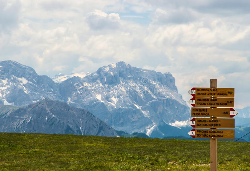 Alpine meadow with wooden signage. stock photos