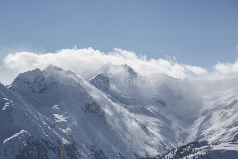 Alpine mountain landscape in winter. Top of Europe Austria.  royalty free stock photography
