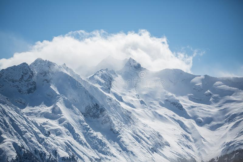Alpine mountain landscape in winter. Top of Europe Austria.  royalty free stock image