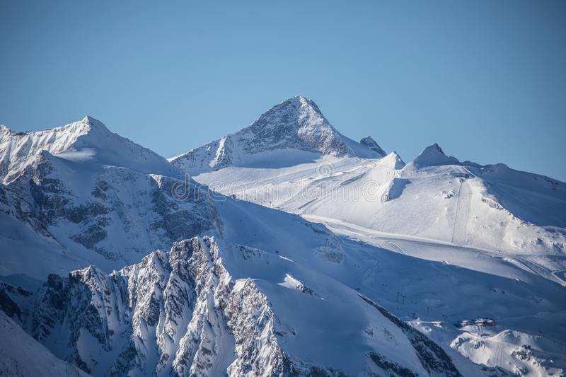 Alpine mountain landscape in winter. Top of Europe Austria royalty free stock photography