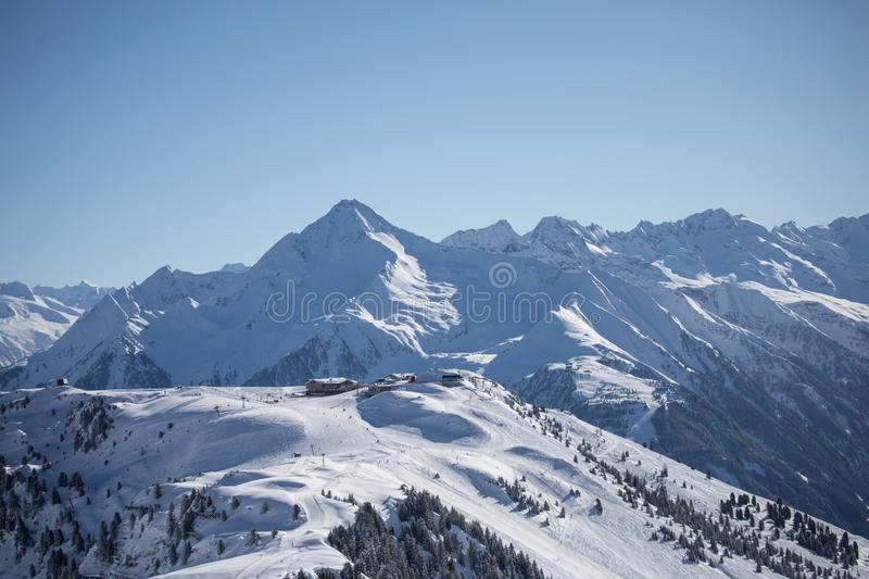 Alpine mountain landscape in winter. Top of Europe Austria stock images