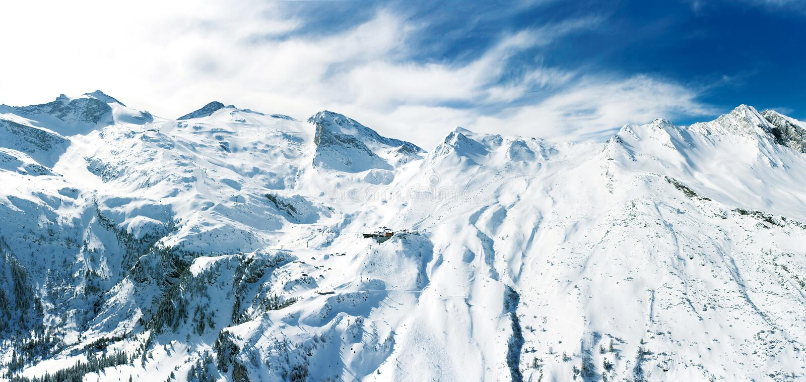Alpine mountain landscape in winter. Top of Europe Austria stock photography