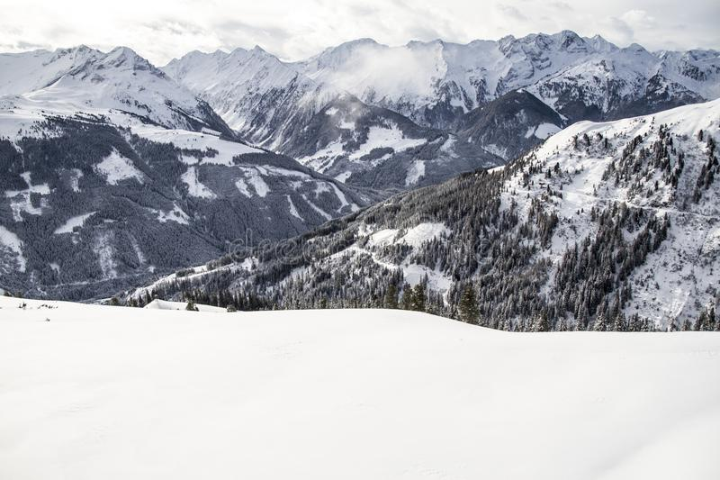 Alpine mountain landscape in winter. Top of Europe Austria royalty free stock photos