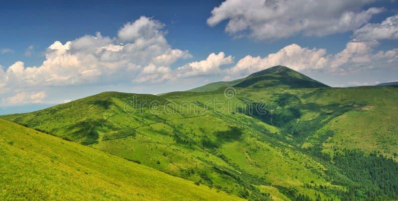 Alpine mountain meadows under Petros mount royalty free stock photo