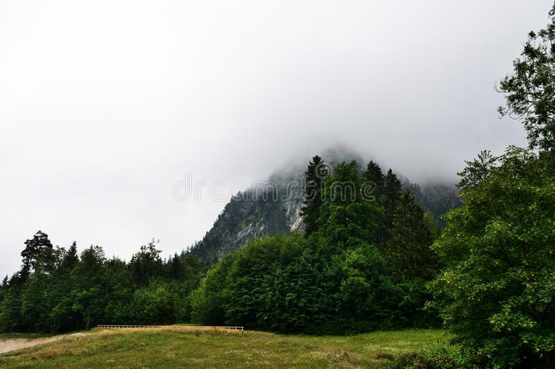 Alpine mountains in the fog on a summer cloudy day. Bovaria, Germany.  stock photos