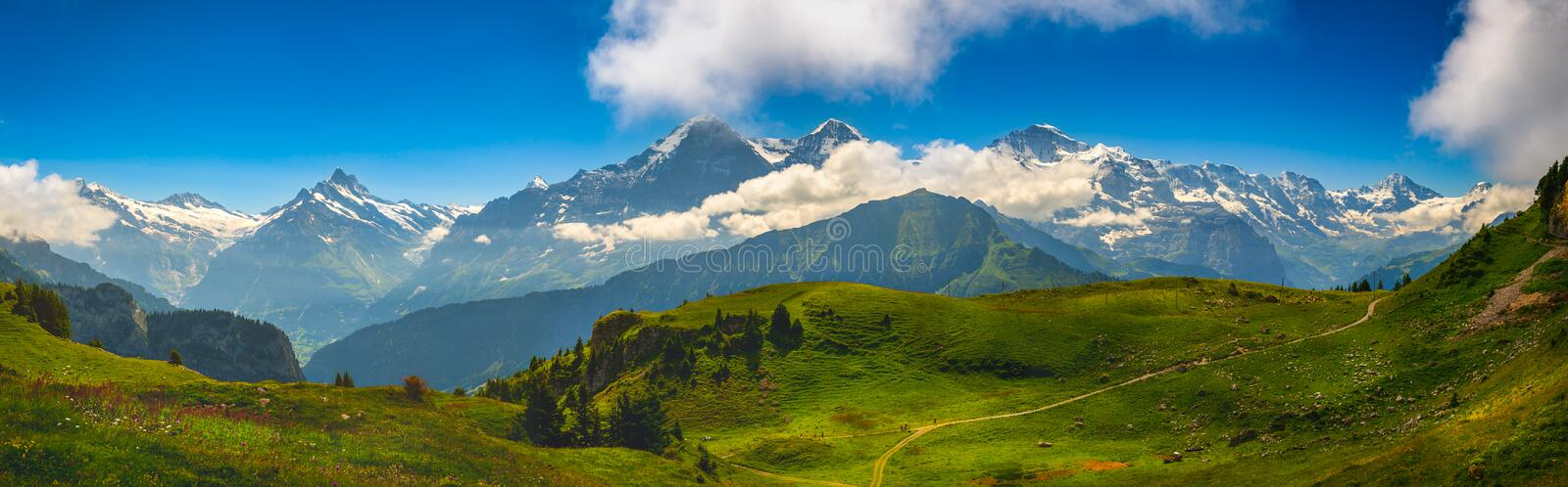 Alpine Panorama: Eiger North Face, Swiss Alps. Alpine panorama of the Eiger North Face, in the Swiss alps royalty free stock photos