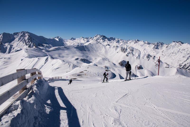 Overlooking Ischgl Ski Resort stock images